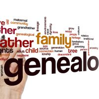 Genealogy word cloud in front of a hand