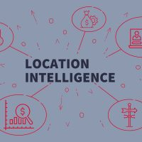 Business illustration showing the concept of location intelligence