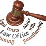 Word cloud around gavel for guardianship and estate planning